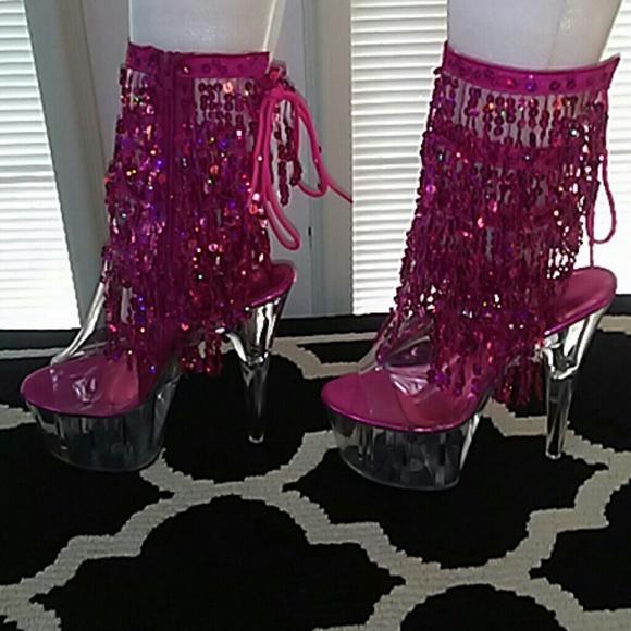 00a1de75944 Pleaser Sequin Sparkly stripper booties NWT